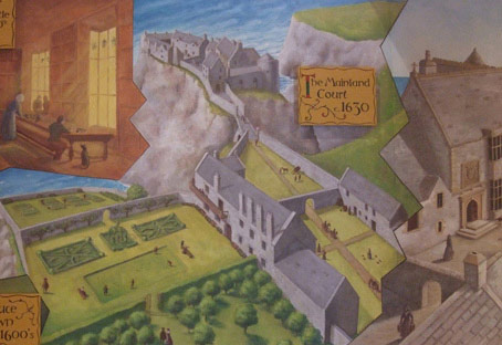 Detail of mural series at Dunluce Castle Visitor's Centre, County Antrim